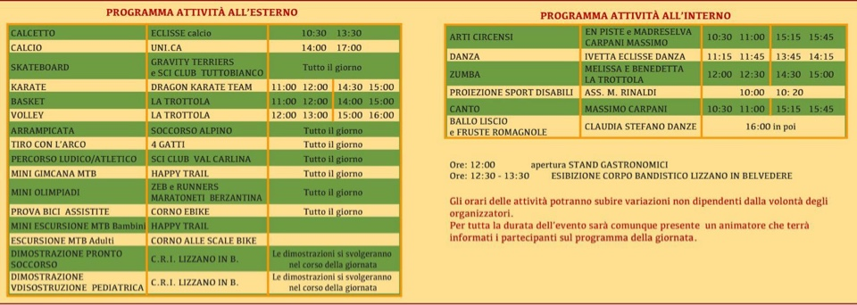 festa dello sport programma